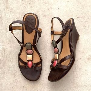 Frye Open-Toe Gems Ankle Strap Wedged Sandals